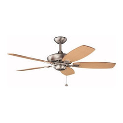 Kichler Lighting - Kichler 52-Inch Pull-Chain Ceiling Fan with Five Blades - 300117NI - This ceiling fan comes with one 6-inch downrod. The blades are at a 14 degree pitch. Optional light kits are available via special order. Please contact the customer service department to order. UL listed. Dry location rated.