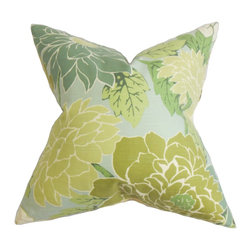 "The Pillow Collection - Kerensa Floral Pillow Green - This cushy throw pillow is a must-have statement piece for your modern home. This throw pillow combines traditional and contemporary style with its bold floral pattern. Bathed in earthy hues, the flowers feature shades of green and set against a blue background. Made of 100% soft cotton, this 18"" pillow is easy to maintain and clean. Hidden zipper closure for easy cover removal.  Knife edge finish on all four sides.  Reversible pillow with the same fabric on the back side.  Spot cleaning suggested."