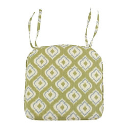 Chooty & Co. - Macie Leaf 17 x 17 in. Pleated Foam Seat Cushion - OS17C3061 - Shop for Cushions and Pads from Hayneedle.com! Fresh green and cream in a contemporary Ikat design make the Macie Leaf 17 x 17 in. Pleated Foam Seat Cushion a Moroccan beauty. This cushion is a distinctive way to add comfort and style to your chairs. Its cover is crafted of durable polyester and tailored details include rounded corners corded trim and two pairs of handy ties. A two-inch thick polyurethane foam cushion brings comfort home.About Chooty & Co.A lifelong dream of running a textile manufacturing business came to life in 2009 for Connie Garrett of Chooty & Co. This achievement was kicked off in September of '09 with the purchase of Blanket Barons well known for their imported soft as mink baby blankets and equally alluring adult coverlets. Chooty's busy manufacturing facility located in Council Bluffs Iowa utilizes a talented team to offer the blankets in many new fashion-forward patterns and solids. They've also added hundreds of Made in the USA textile products including accent pillows table linens shower curtains duvet sets window curtains and pet beds. Chooty & Co. operates on one simple principle: What is best for our customer is also best for our company.