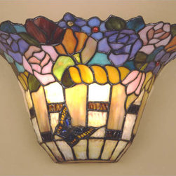 Dale Tiffany - Carmelita Stained Glass Wall Sconce - Alive with charm, this stained glass sconce depicts a vibrant floral motif.  A lone butterfly flutters beneath the blooms to lend additional allure.   Dale Tiffany - TW100887