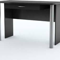 South Shore Axess Collection Work Table Pure Black - Keep even the smallest space organized with the South Shore Axess Collection Work Table Pure Black. The clean, contemporary styling of the black finished particleboard design features both storage and a workspace. The piece does double duty.About South Shore FurnitureA recognized leader in North American furniture manufacture, South Shore Industries was established in 1940 and has been making furniture for three generations. Employing a team of over 1,000 employees in three factories in Quebec, their assembled and ready-to-assemble furniture has a reputation for quality and excellence at affordable prices for today's family.A Green ChoiceAll South Shore Industries products are made of laminated engineered wood, which gives them great strength and durability. Wood panels are made entirely from recovered and recycled material. While South Shore makes every effort to preserve the environment by conserving our forests, they make no compromise when it comes to quality and product durability. Their products are designed for easy maintenance and offered at very competitive prices.