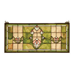 "Meyda Tiffany - 24""W X 11""H Tulips Transom Stained Glass Window - Stylized Tulips adorn this Peach and Avocado stained-glass window. The window is handcrafted utilizing the copper foil construction process and 159 pieces of stained art glass encased in a solid brass frame. Mounting bracket and chain are included."