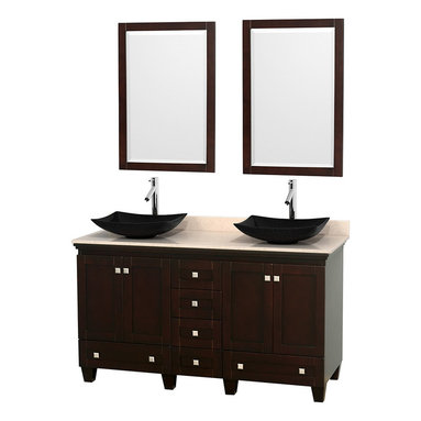 "Wyndham Collection - 60"" Acclaim Double Vanity w/ Ivory Marble Countertop & Arista Black Granite Sink - Sublimely linking traditional and modern design aesthetics, and part of the exclusive Wyndham Collection Designer Series by Christopher Grubb, the Acclaim Vanity is at home in almost every bathroom decor. This solid oak vanity blends the simple lines of traditional design with modern elements like beautiful overmount sinks and brushed chrome hardware, resulting in a timeless piece of bathroom furniture. The Acclaim comes with a White Carrera or Ivory marble counter, a choice of sinks, and matching mirrors. Featuring soft close door hinges and drawer glides, you'll never hear a noisy door again! Meticulously finished with brushed chrome hardware, the attention to detail on this beautiful vanity is second to none and is sure to be envy of your friends and neighbors"