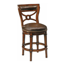 Ambella Home - Delaware Swivel Counter Stool - Counter stool isn't the right word for this fabulous leather chair. It swivels, yes. It's taller than your average chair, yes. But it's so luxurious your friends will not be anxious to dismount and go home. Everyone will want to linger a little longer!