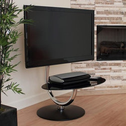 Lumisource - C-Shape TV Stand - Contemporary design. Hold flat screen LCD, LED, and Plasma TVs from 15 to 50 inches.. Table Height: 15 in.. Top of Chrome Curve: 35 in.. Top of Mounting Brackets: 43 in.. Overall Dimensions: 31.5 in. W x 30 in. D x 52 in. H. Rotates 360 degrees. Sturdy chrome frame and black metal base. Tempered glass shelve measures 31.5 inches in length by 19.75 inches in width. Easy to AssembleThis C shaped TV stand will add a modern flair to your entertainment area. The TV stand also swivels 360 degrees to position your TV anyway you like. The tempered black glass shelf will hold your cable box and DVD player. Holds Plasma/LED/LCD TV from 15 to 50 inches.