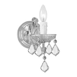 Crystorama - Crystorama Maria Theresa Wall Sconce in Chrome - Shown in picture: Maria Theresa Wall Mount Draped in Hand Cut Crystal; For centuries - Maria Theresa style of crystal chandeliers has been a sign of wealth - style - and class. In keeping with the time honored traditions of our European artisans - Crystorama�s Maria Theresa collection offers a variety of finishes and crystal combinations. Shown here dressed in our popular Golden Teak crystal. Also available in clear crystal (Strass - Swarovski Spectra - or Majestic Wood Polished).