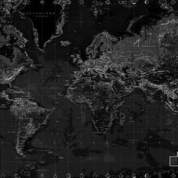 Murals Your Way - Black and White World Map Wall Art - Created by  Environmental Graphics, the Black and White World Map wall mural will add a distinctive touch to your room