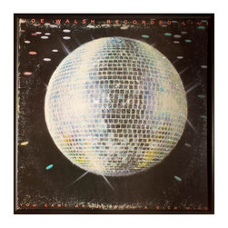 """Glittered Joe Walsh Live Album - Glittered record album. Album is framed in a black 12x12"""" square frame with front and back cover and clips holding the record in place on the back. Album covers are original vintage covers."""