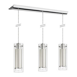 Dainolite - Dainolite 3LT Pend Clr/Fr Glass - 3 Light Polished Chrome Pendant Clear Frosted Glass with White Fabric Sleeve Silver Wire
