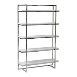 Eurostyle - Gilbert-5 Shelf Unit-White - High gloss lacquered MDF shelves