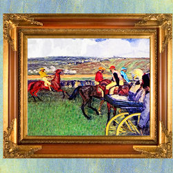 At The Races - This 24x20 remastered Royalty Free framed fine artwork on canvas At The Races by Edgar Degas is available for $375.00.  A Certificate of Reproduction will accompany this framed artwork.  At The Races is also available in two additional sizes, 30x24 and 40x30.  Please contact us for pricing.