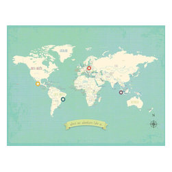 Rebecca Peragine Inc / Children Inspire Design - My Travel's Personalized World Map 24x18 Wall Art Poster - The Our Travels World and USA maps are the modern must have for raising global children.  Show off your travels with stickers plotting memories of unforgettable family adventures.Creative and unique, just like your family. Use the posters to plan your future trips as well as capture where you've been.  Includes 16 unattached star stickers to highlight past and future travels.  24x18 Wall Art Poster