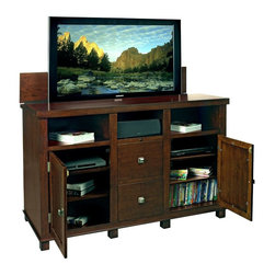 TV Lift Cabinet Axiom TV Console - Made of solid wood in rich cherry finish, the Axiom is a sophisticated premium TV lift cabinet solution packed with practical features. It features interchangeable wood and speaker cloth panels for both doors, built-in Infrared System that allows complete control of your television and audio-visual equipment  even with the doors closed, and a pre-installed heavy-duty TV lift. Made in the USA by Amish craftsmen, the TV Lift Cabinet Axiom TV Console with its multi-step stain and scratch-resistant finish will complement any living space, whether rustic or contemporary.