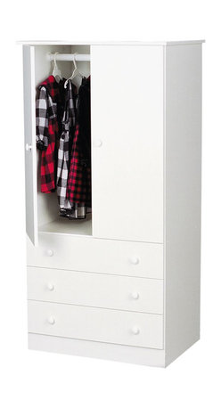 Prepac - Prepac White Edenvale 30 Inch 3-Drawer Junior Wardrobe - Say goodbye to your overcrowded closet with the edentate 3 drawer wardrobe. With three full-sized drawers, a two-door cabinet and a hanging rod, this wardrobe is your all-in-one storage solution. Its clean, minimalist style makes it an easy addition to any small bedroom. So don't clutter up your bedroom, keep it simple with this efficient and affordable wardrobe. Complete the look with other pieces in the edentate bedroom collection!
