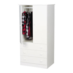 Prepac - Prepac White Edenvale 30 Inch 3-Drawer Junior Wardrobe - Say goodbye to your overcrowded closet with the Edenvale 3 Drawer Wardrobe. With three full-sized drawers, a two-door cabinet and a hanging rod, this wardrobe is your all-in-one storage solution. Its clean, minimalist style makes it an easy addition to any small bedroom. So don't clutter up your bedroom, keep it simple with this efficient and affordable wardrobe. Complete the look with other pieces in the Edenvale Bedroom Collection!