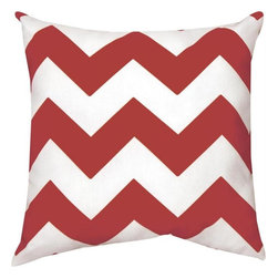 Manual - Pair of Crimson Red and White Chevron Print Indoor / Outdoor Throw Pillow - This pair of 18 inch by 18 inch woven throw pillows adds a wonderful nautical accent to your home or patio. The pillows have (No Suggestions) weatherproof exteriors, that resist both moisture and fading. The pillows feature the same crimson red and white chevron striped print on both front and back. They have 100% polyester stuffing. These pillows are crafted with pride in the Blue Ridge Mountains of North Carolina, and add a quality accent to your home.