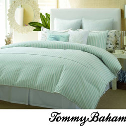 Tommy Bahama - Tommy Bahama Surfside Stripe 4-piece Comforter Set - Update your bedroom with this four-piece comforter set by Tommy Bahama. Featuring a striped design that gives it a contemporary look, this plush comforter set is machine-washable for your convenience, and the set includes two shams and a bedskirt.