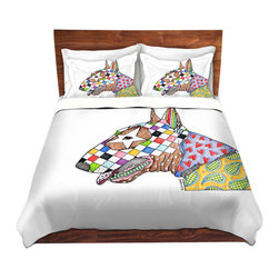DiaNoche Designs - Duvet Cover Microfiber by Marley Ungaro - Bull Terrier Dog - DiaNoche Designs works with artists from around the world to bring unique, artistic products to decorate all aspects of your home.  Super lightweight and extremely soft Premium Microfiber Duvet Cover (only) in sizes Twin, Queen, King.  Shams NOT included.  This duvet is designed to wash upon arrival for maximum softness.   Each duvet starts by looming the fabric and cutting to the size ordered.  The Image is printed and your Duvet Cover is meticulously sewn together with ties in each corner and a hidden zip closure.  All in the USA!!  Poly microfiber top and underside.  Dye Sublimation printing permanently adheres the ink to the material for long life and durability.  Machine Washable cold with light detergent and dry on low.  Product may vary slightly from image.  Shams not included.