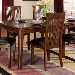 Standard Furniture - Regency 7 Pc Dining Set in Sienna Brown Finis - Set includes table and 6 side chairs. Knock-down. Functional server features 2 cupboards and a wine rack for storage, as well as a bottom shelf. Tapered legs provide a sleek and sturdy anchor for Regency�۪s table. Upholstered chair seats provide comfort and design appeal. Surfaces clean easily with a soft cloth. Quality veneers over wood products and select used throughout. May contain some plastic parts. Aged vintage Sienna Brown finish. Table: 78 in. L x 42 in. W x 30 in. H (141 lbs.). Chair height: 40 in.. Chair weight: 42 lbs.Regency features unique simplicity coupled with an updated design blend making it the perfect complement to your home.
