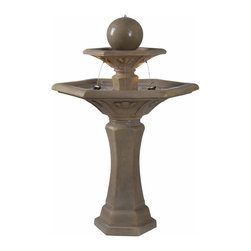 Kenroy Home - Kenroy 50325DT Provence Outdoor Floor Fountain - Providence takes inspiration from the rich architecture of southern France's many monuments and churches.  This two-tiered lighted fountain, with its Dark Travertine finish and classic paneled ornamentation, is crowned by a grand bubbling orb.