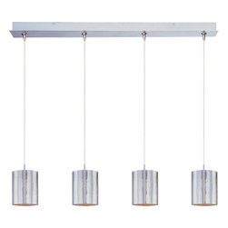 ET2 Lighting - Minx 4-Light Linear Pendant - Can it! Satin nickel cylinders with a hint of graphic pattern shade xenon bulbs. The result? Brilliant impact for your favorite modern setting.