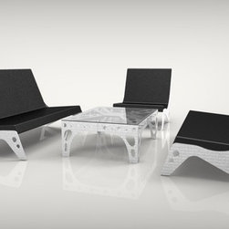 New Industrial Furniture Designs - Pekota Lounger made from anodized aluminium and Sunbrella fabric.