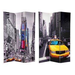 Oriental Furniture - 6 ft. Tall Double Sided New York Taxi Room Divider - The iconic yellow cab, maybe the most reliable mode of transportation on the island of Manhattan. Somehow, the bright yellow Fords against black and white photographs of Times Square, create a uniquely appealing quality of pop art imagery.