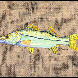 Caroline's Treasures - Fish - Snook Indoor or Outdoor Mat 24 x 36 Doormat - Indoor / Outdoor Mat 24 x 36 - 24 inches by 36 inches. Permanently dyed and fade resistant. Great for the front door or the back door. Use this mat inside or outside. Use a garden hose or power washer to chase the dirt off of the mat. Do not scrub with a brush. Use the Vacuum on floor setting. Made in the USA. Clean stain with a cleaner that does not produce suds.