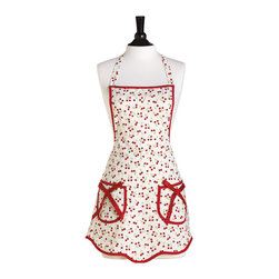 Jessie Steele - Jessie Steele Retro Cherries Ava Apron - Cherries are the inspiration behind this classic and flattering silhouette. Scalloped hem and pocket bow details make the Ava perfect for today's hostess. This Retro Cherries Ava Apron is made from a fine, linen cotton blend and features two waist pockets with removable grosgrain bows, red bias trim, and adjustable ties at waist and neck.