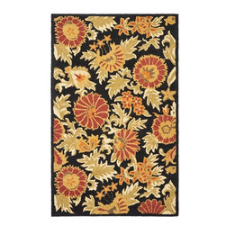 Safavieh - Safavieh Blossom Country and Floral Hand Hooked Wool Rug X-8-A219MLB - 100% pure virgin wool pile, hand-hooked to floral designs with neutral tones. This collection is handmade in India exclusively for Safavieh.