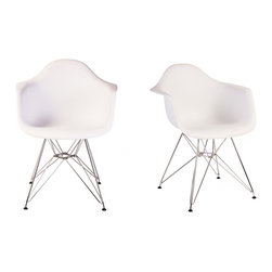 Ariel - Set of 2 Eames Style DAR White Dining Armchair w/ Steel Eiffel Legs - Featuring a seat shell can be joined with a variety of different bases, the Set of 2 Eames Style DAR Molded Plastic Dining Armchair with Steel Eiffel Legs is the perfect addition for the dining area or home office. Can be used with seat and back cushions for added comfort. Available in multiple colors.