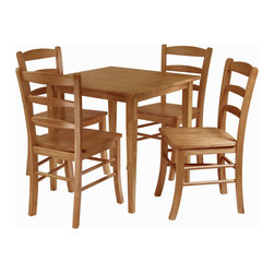 "Winsome Wood - Winsome Wood Groveland 5 Piece Square Dining Set in Light Oak - 5 Piece Square Dining Set in Light Oak belongs to Groveland Collection by Winsome Wood This great 42"" round double drop leaf table is a much for every home. Perfect for small kitchen. Open to full 42"" for company or use it for extra serving table for parties. Made of Solid beechwood. Dining Table (1), Dining Chair (4)"