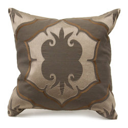 Lagos Pillow - Smoke/Vanilla - In a mysterious mix of smoke, bronze, and steel with the comeliness of four-way radial symmetry, the lotus motif which is central to the Lagos pillow has a series of delicate curls at the edges of its dark middle that suggest a complexity perfectly befitting the nocturnal cast of this embroidered linen accent cushion.  Elegant in its soft Moorish geometry and dark, rich array of neutrals, the Lagos design suits your traditional hideaway or transitional living space to perfection.