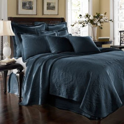 Historic Charleston Collection - King Charles Matelasse Coverlet in Provincial Blue - Steeped in Historic Charleston's rich, classic style and decorative arts culture, the King Charles 100% cotton matelasse bedding collection offers the ultimate blend of European, Caribbean, and Asian influences.