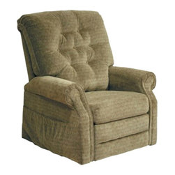 "Catnapper - Catnapper Patriot Power Lift Full Lay-Out Recliner in Celery - Catnapper - Recliners - 4824180025 - The Patriot ""Power Lift"" Full Lay-Out Recliner by Catnapper combines style, comfort and functionality. This traditionally styled recliner features elegant button tufted back, sturdy roll arm and very soft chenille fabric upholstery available in autumn, vino, celery, and slate. With its steal seat box it provides 350 Lb. weight capacity. This amazing chair that offers full layout comfort will be enjoyed for years to come!"