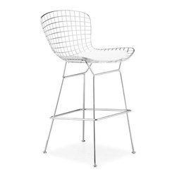 Advanced Interior Designs - Bertoia Wire Counter Stool, Chrome Finish with White Pad - This classic mid-20th century modern chair is a brilliant design. Our Bertoia counter stool is a high quality reproduction of the original design by Harry Bertoia. Our counter stool is exceptionally strong and surprisingly comfortable with its unique bent and welded steel rod construction.