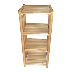 "Bamboo54 - Bamboo 4-Tier Kyoto Rack - Extremely versatile and useful rack for the bath or the study or for small apartments and dorms as well. Measures 36"" H x 15"" W x 14"" D, with 10"" height in between shelves. Some assembly required."