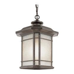 Joshua Marshal - One Light Rust Tea Stained Linen Glass Hanging Lantern - One Light Rust Tea Stained Linen Glass Hanging Lantern