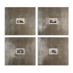 """Large Frame Historical Buildings Wall Art Set of 4 - *This artwork features 8"""" wide frames with a champagne silver leaf base and light brown glaze."""