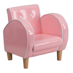 Flash Furniture - Flash Furniture Kids Pink Chair - Kids will now get to enjoy furniture designed specifically for their size! This button back chair with curved arms will be a charming piece of furniture that your child is sure to love. This portable chair is great for seating in any room. The vinyl upholstery ensures easy cleaning after accidents or for quick wipe offs.