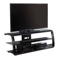 """Bello - Bello Versatile 60"""" TV Stand in Two-tone Black Finish - Bello - TV Stands - PVS4264 - This dynamic design is sure to make an impression with its wrap-over frame and beautiful combination of High Gloss Black and Black Chrome. It features a two tone Black metal frame in a scratch resistant powder coated finish and curved Black Chrome accented sides."""