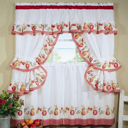 Achim Importing Co. - Fruitopia Cottage Window Set - Frame windows in charming ruffles with this set that provides privacy, light filtering and sweet coordination.   Includes two tier panels and valance with attached swaggers and tiebacks 100% polyester Machine wash; tumble dry Imported