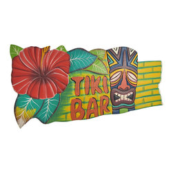 Colorful Wooden `Tiki Bar` Sign with Hibiscus Flower and Mask - This cheerful tiki bar sign is a wonderful addition to your home tiki bar or restaurant. It features a smiling tiki mask and bright red hibiscus flower on a yellow background. It measures 18 3/4 inches long, 8 inches high, 1/2 inch thick, and has a twisted rope hanger on the back. This piece is a great gift for your friend with a tiki themed porch, and is sure to be admired by all.