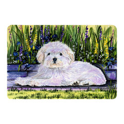 Caroline's Treasures - Coton De Tulear Kitchen or Bath Mat 24 x 36 - Kitchen or Bath Comfort Floor Mat This mat is 24 inch by 36 inch. Comfort Mat / Carpet / Rug that is Made and Printed in the USA. A foam cushion is attached to the bottom of the mat for comfort when standing. The mat has been permanently dyed for moderate traffic. Durable and fade resistant. The back of the mat is rubber backed to keep the mat from slipping on a smooth floor. Use pressure and water from garden hose or power washer to clean the mat. Vacuuming only with the hard wood floor setting, as to not pull up the knap of the felt. Avoid soap or cleaner that produces suds when cleaning. It will be difficult to get the suds out of the mat.