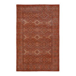 "Kaleen - Contemporary Restoration 5'6""x8'6"" Rectangle Paprika Area Rug - The Restoration area rug Collection offers an affordable assortment of Contemporary stylings. Restoration features a blend of natural Paprika color. Hand Knotted of 100% Wool the Restoration Collection is an intriguing compliment to any decor."