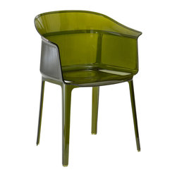 Kartell - Papyrus Chair, Set of 2, Transparent Olive Green - No matter where you place it, this amazing armchair has no trouble fitting in. A remake of the archetypal antique rush chair, its silhouette is decisive and strong, but it definitely plays nicely with other furnishings. Made of polycarbonate, it's stackable, shock-, scratch- and weather-resistant, so it can be used indoors or out.