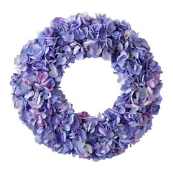 Jane Seymour Botanicals - Wreath Dried Hydrangea, Purple/Green - All the delicate crinkly charm of bona fide dried blooms — with the staying power of fantastic faux. This purple hydrangea wreath adds a welcoming touch anywhere in your decor.