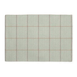 Aqua Small Houndstooth Custom Placemat Set - Is your table looking sad and lonely? Give it a boost with at set of Simple Placemats. Customizable in hundreds of fabrics, you're sure to find the perfect set for daily dining or that fancy shindig. We love it in this traditional houndstooth plaid in beachy hues of seafoam, taupe & white.