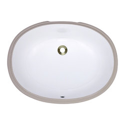 """MR Direct - Porcelain Bathroom Sink - The UPL-White porcelain undermount sink is made from true vitreous China which is triple glazed and triple fired to ensure your sink is durable and strong. Undermounting a bathroom sink creates a sleek look and allows for more space on your countertop. The overall dimensions for the UPL-white are  and requires a 24"""" minimum cabinet size. Pop-up drains in a variety of finishes are available with this sink model. As always, our porcelain sinks are covered under a limited lifetime warranty for as long as you own the sink."""