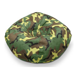 ABC Lifestyle - Standard Bean Bag in Camo - Round shape. Twin locking zippers. Can be easily refilled. Wipe clean. 4.5 cube of fill. 90 days warranty. Made from cloth and polystyrene bead. 96 in. Dia.